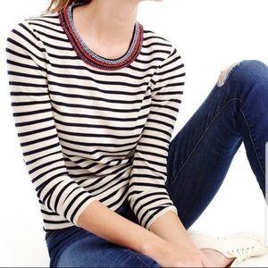 J. Crew beaded neckline striped Tippi sweater